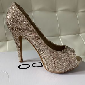 Aldo rose gold glitter heels